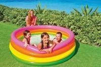 Надувной детский бассейн 168х46 см. с надувными стенками для дачи или загородного дома артикул: 56441
